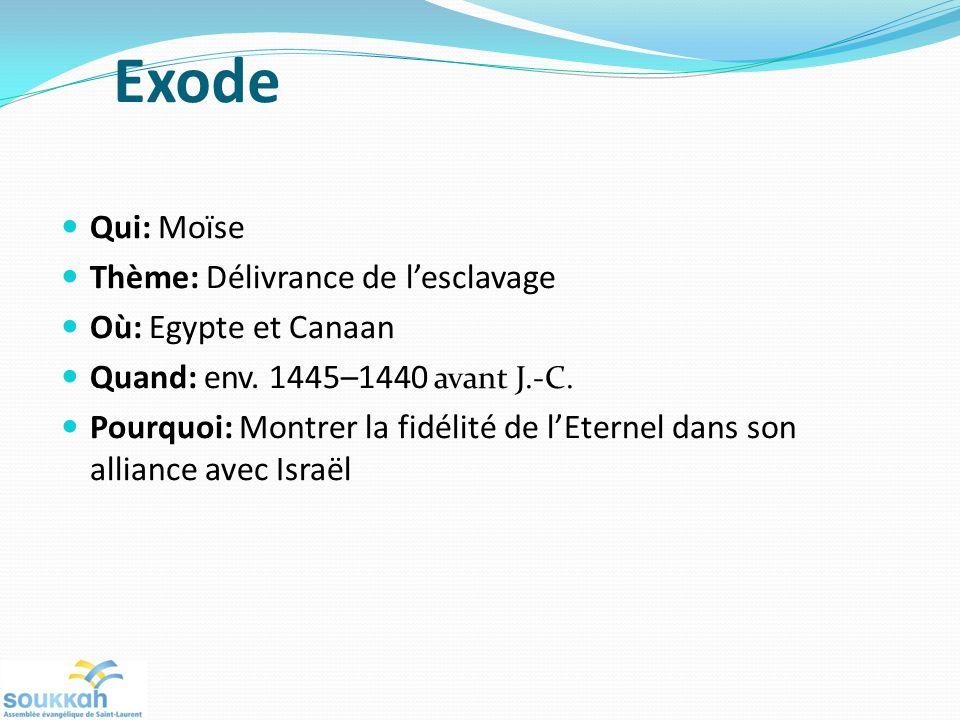 Exode Qui: Moïse Thème: Délivrance de lesclavage Où: Egypte et Canaan Quand: env. 1445–1440 avant J.-C. Pourquoi: Montrer la fidélité de lEternel dans
