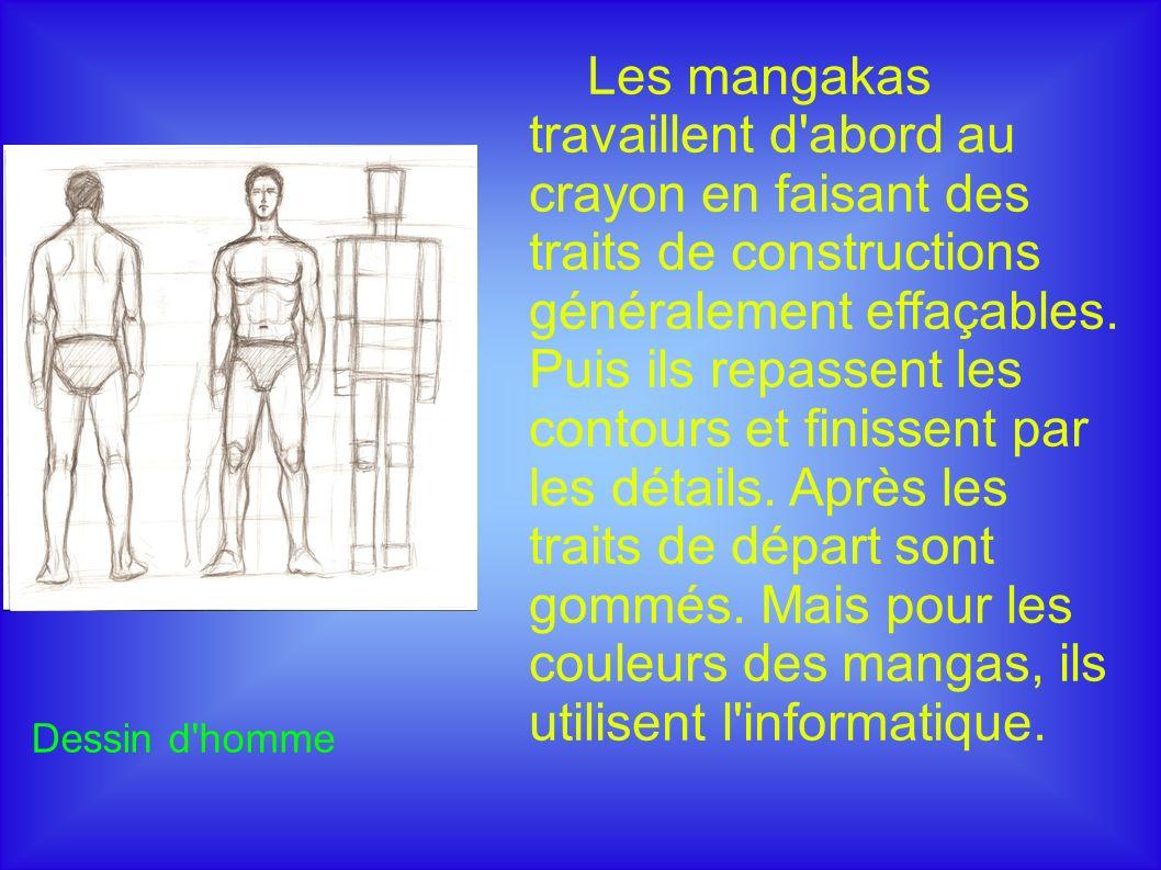 Dessin d homme Les mangakas travaillent d abord au crayon en faisant des traits de constructions généralement effaçables.