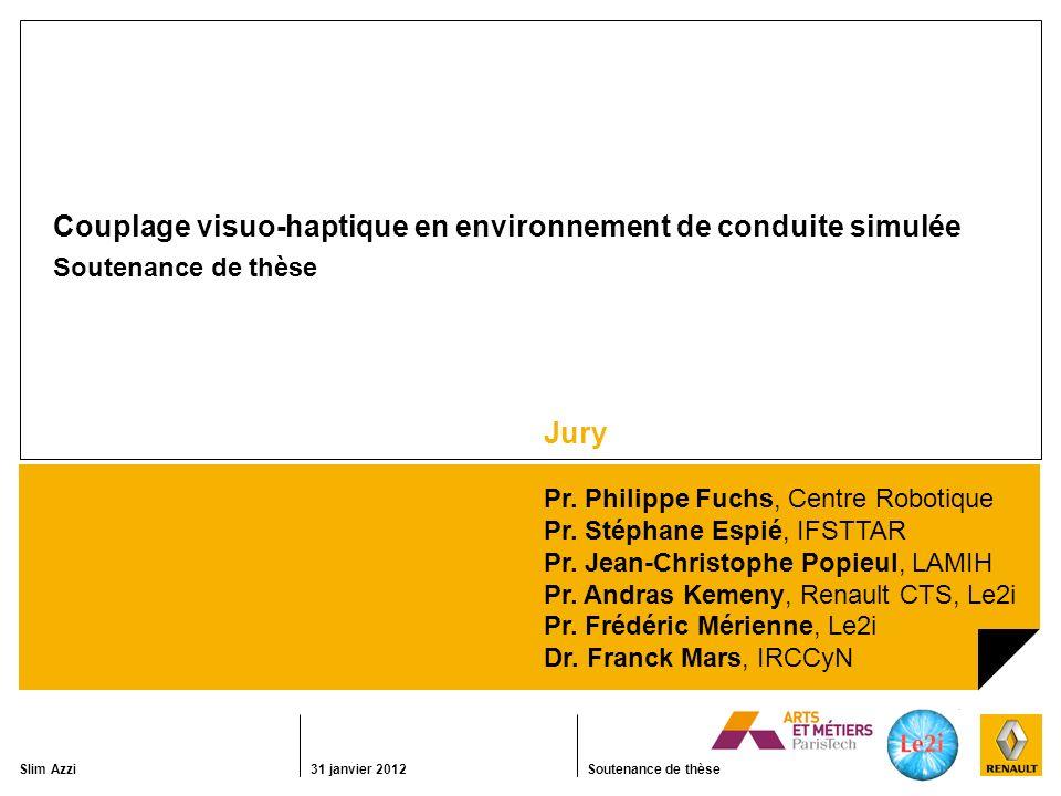 Slim Azzi31 janvier 2012Soutenance de thèse Couplage visuo-haptique en environnement de conduite simulée Soutenance de thèse Jury Pr.