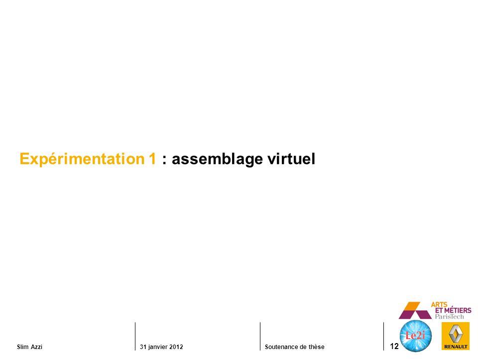 Slim Azzi31 janvier 2012Soutenance de thèse 12 Expérimentation 1 : assemblage virtuel