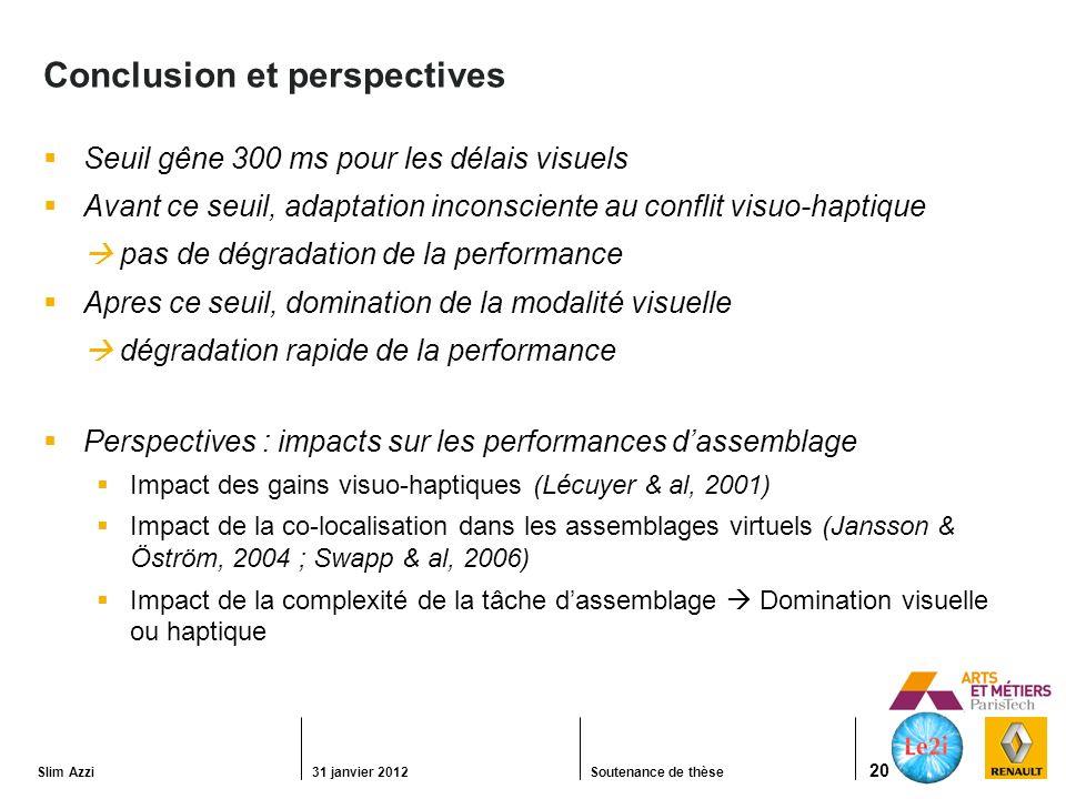Slim Azzi31 janvier 2012Soutenance de thèse 20 Conclusion et perspectives Seuil gêne 300 ms pour les délais visuels Avant ce seuil, adaptation inconsciente au conflit visuo-haptique pas de dégradation de la performance Apres ce seuil, domination de la modalité visuelle dégradation rapide de la performance Perspectives : impacts sur les performances dassemblage Impact des gains visuo-haptiques (Lécuyer & al, 2001) Impact de la co-localisation dans les assemblages virtuels (Jansson & Öström, 2004 ; Swapp & al, 2006) Impact de la complexité de la tâche dassemblage Domination visuelle ou haptique