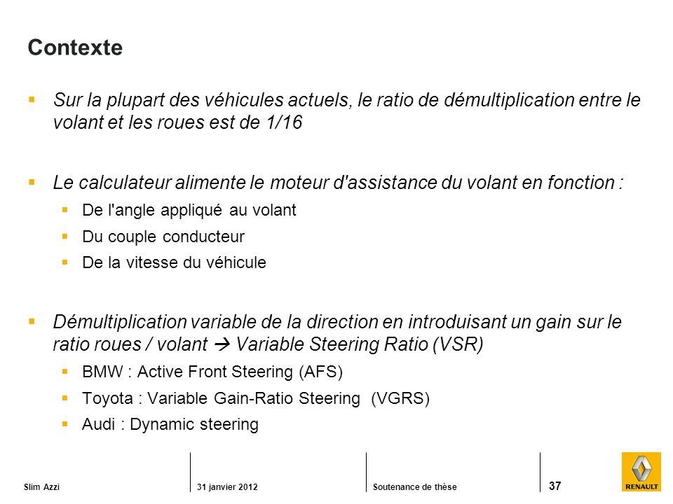 Slim Azzi31 janvier 2012Soutenance de thèse 37 Contexte Sur la plupart des véhicules actuels, le ratio de démultiplication entre le volant et les roues est de 1/16 Le calculateur alimente le moteur d assistance du volant en fonction : De l angle appliqué au volant Du couple conducteur De la vitesse du véhicule Démultiplication variable de la direction en introduisant un gain sur le ratio roues / volant Variable Steering Ratio (VSR) BMW : Active Front Steering (AFS) Toyota : Variable Gain-Ratio Steering (VGRS) Audi : Dynamic steering