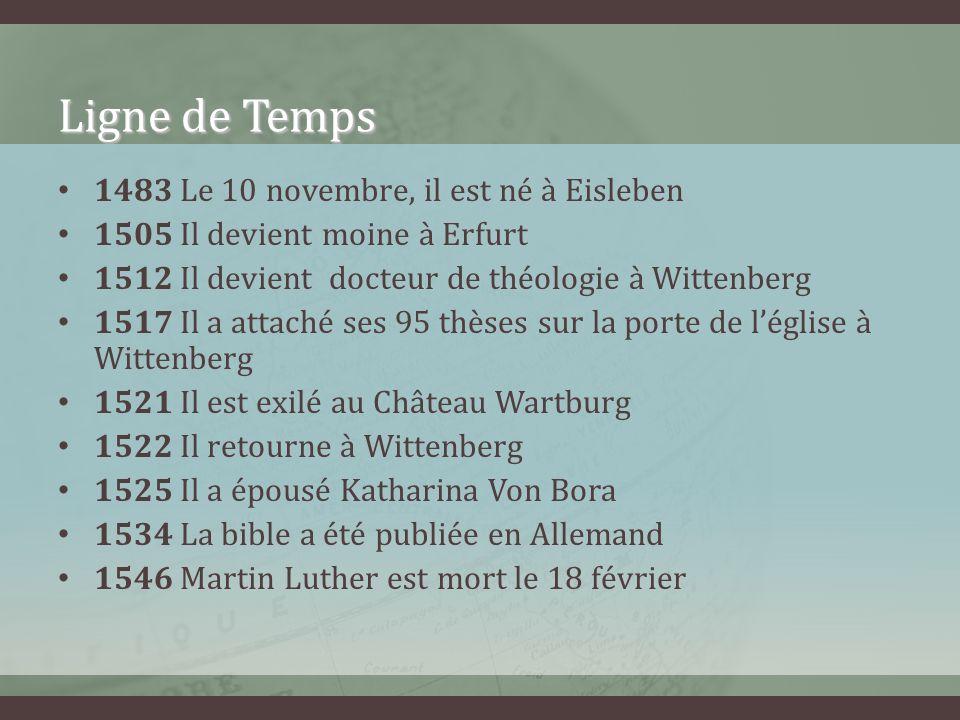 Ligne de Temps 1483 Le 10 novembre, il est né à Eisleben 1505 Il devient moine à Erfurt 1512 Il devient docteur de théologie à Wittenberg 1517 Il a at