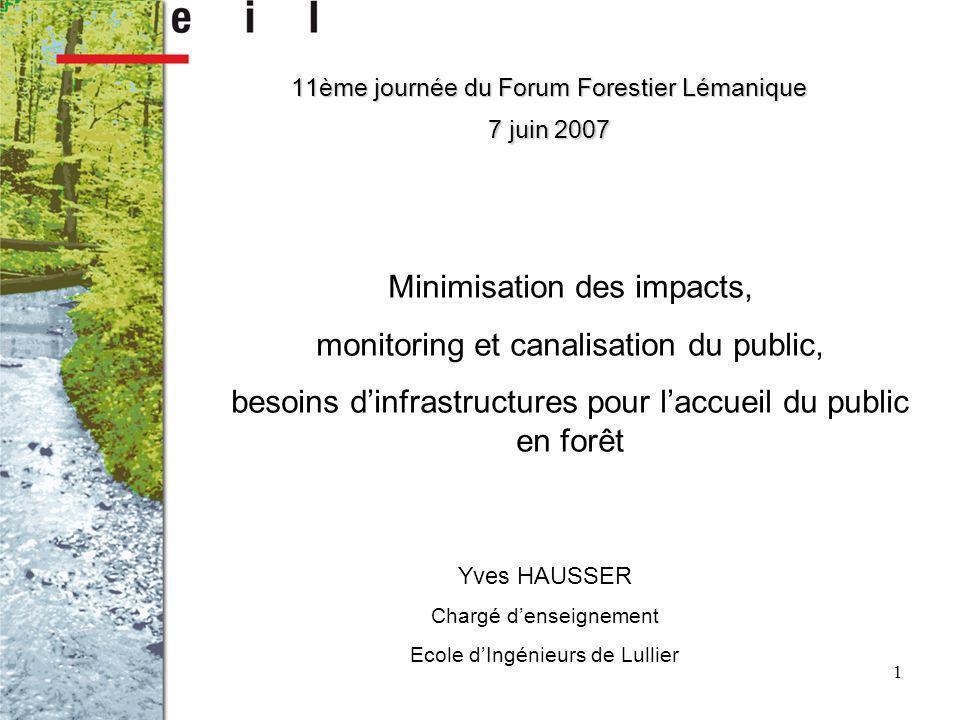 1 Yves HAUSSER Chargé denseignement Ecole dIngénieurs de Lullier 11ème journée du Forum Forestier Lémanique 7 juin 2007 Minimisation des impacts, monitoring et canalisation du public, besoins dinfrastructures pour laccueil du public en forêt