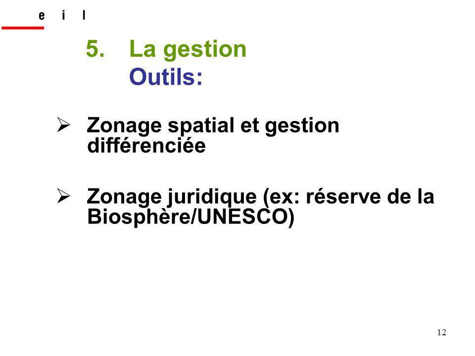 12 Zonage spatial et gestion différenciée Zonage juridique (ex: réserve de la Biosphère/UNESCO) 5.La gestion Outils: