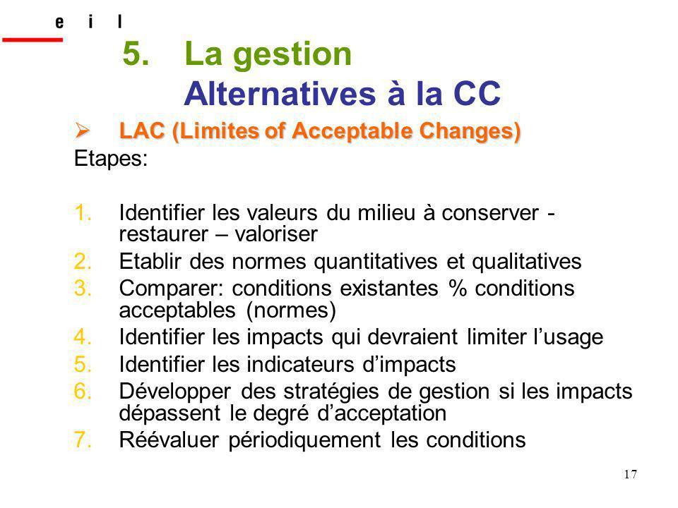 17 LAC (Limites of Acceptable Changes) LAC (Limites of Acceptable Changes) Etapes: 1.Identifier les valeurs du milieu à conserver - restaurer – valori