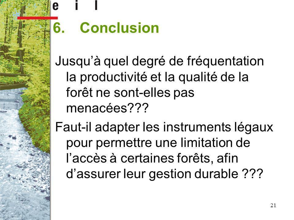 21 6.Conclusion Jusquà quel degré de fréquentation la productivité et la qualité de la forêt ne sont-elles pas menacées??? Faut-il adapter les instrum