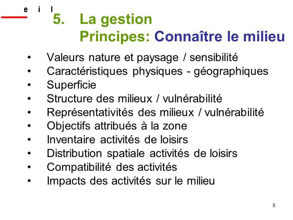 8 5.La gestion Principes: Connaître le milieu Valeurs nature et paysage / sensibilité Caractéristiques physiques - géographiques Superficie Structure