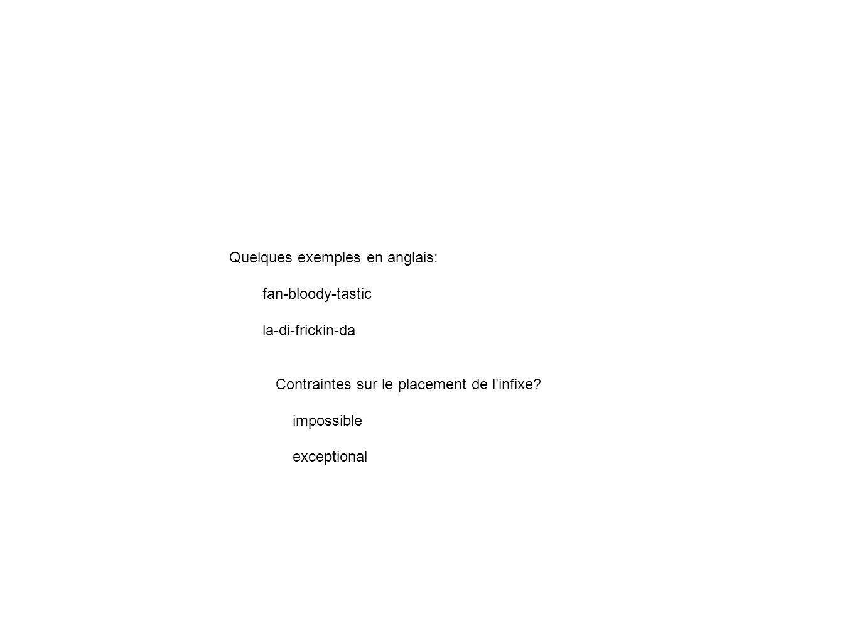Quelques exemples en anglais: fan-bloody-tastic la-di-frickin-da Contraintes sur le placement de linfixe? impossible exceptional