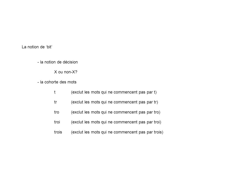 La notion de bit - la notion de décision X ou non-X? - la cohorte des mots t(exclut les mots qui ne commencent pas par t) tr(exclut les mots qui ne co