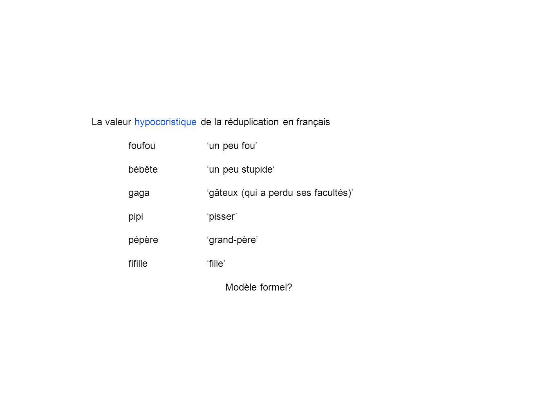 La valeur hypocoristique de la réduplication en français foufouun peu fou bébêteun peu stupide gagagâteux (qui a perdu ses facultés) pipipisser pépère