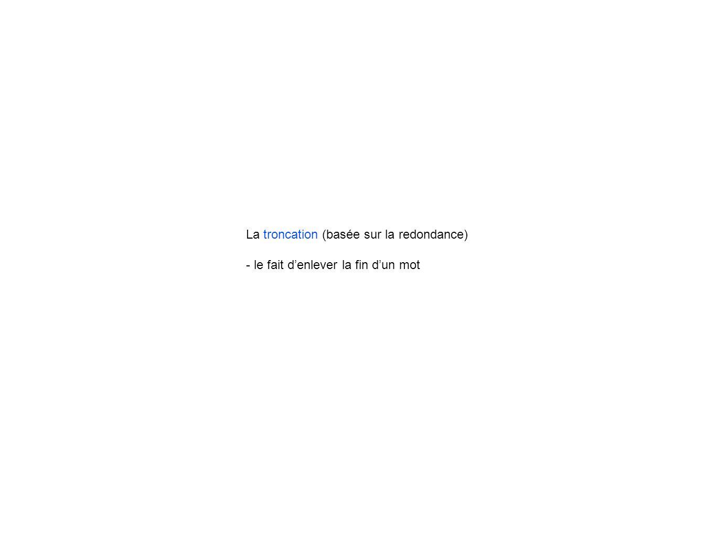 La troncation (basée sur la redondance) - le fait denlever la fin dun mot