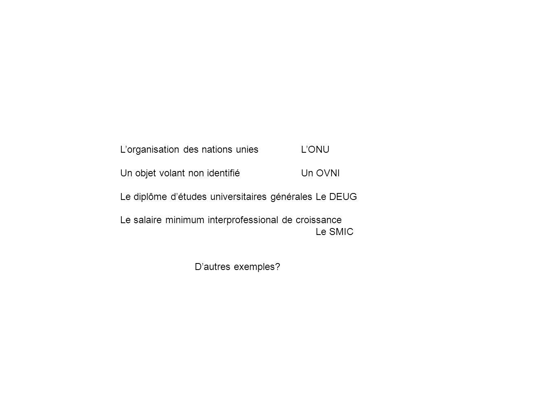 Lorganisation des nations unies LONU Un objet volant non identifié Un OVNI Le diplôme détudes universitaires généralesLe DEUG Le salaire minimum inter