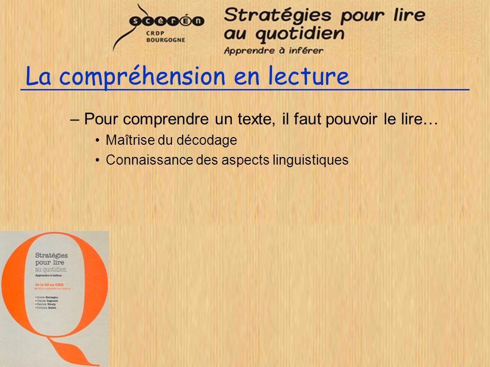 La compréhension en lecture –Pour comprendre un texte, il faut pouvoir le lire… Maîtrise du décodage Connaissance des aspects linguistiques