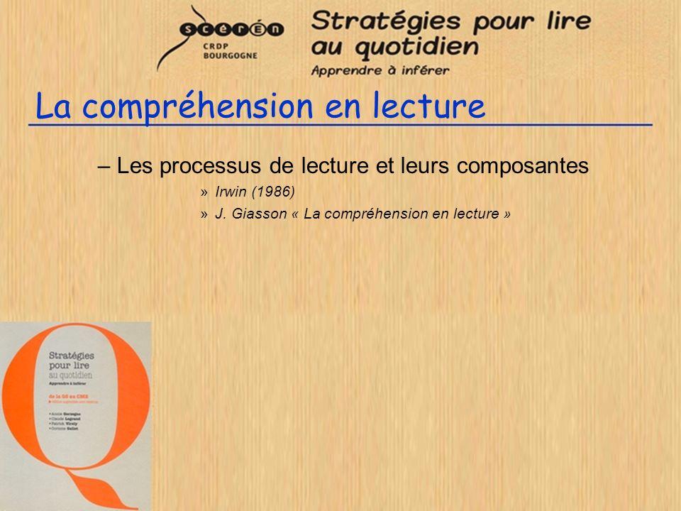 La compréhension en lecture –Les processus de lecture et leurs composantes »Irwin (1986) »J. Giasson « La compréhension en lecture »