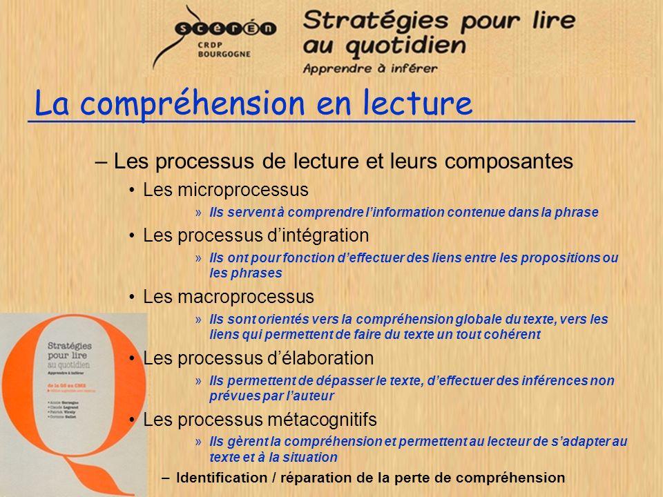La compréhension en lecture –Les processus de lecture et leurs composantes Les microprocessus »Ils servent à comprendre linformation contenue dans la