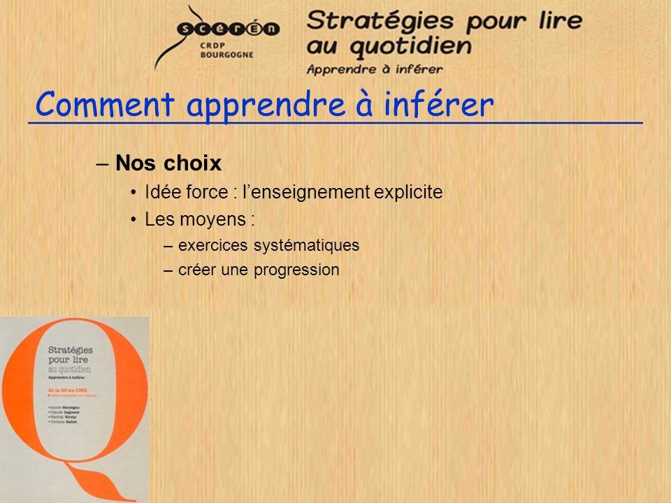 Comment apprendre à inférer –Nos choix Idée force : lenseignement explicite Les moyens : –exercices systématiques –créer une progression