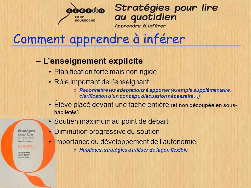 Comment apprendre à inférer –Lenseignement explicite Planification forte mais non rigide Rôle important de lenseignant »Reconnaître les adaptations à
