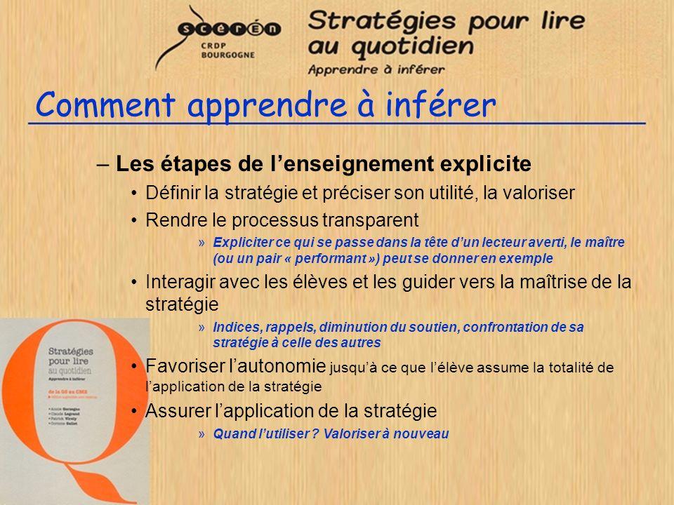 Comment apprendre à inférer –Les étapes de lenseignement explicite Définir la stratégie et préciser son utilité, la valoriser Rendre le processus tran