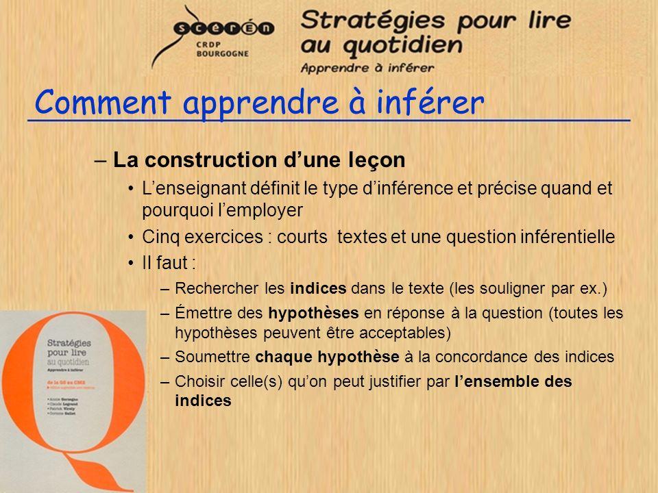 Comment apprendre à inférer –La construction dune leçon Lenseignant définit le type dinférence et précise quand et pourquoi lemployer Cinq exercices :
