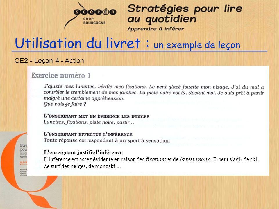 Utilisation du livret : un exemple de leçon CE2 - Leçon 4 - Action L'enseignant justifie l'inférence L'inférence est assez évidente en raison des fixa