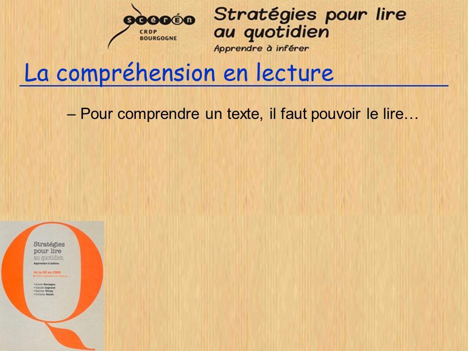 La compréhension en lecture –Pour comprendre un texte, il faut pouvoir le lire…