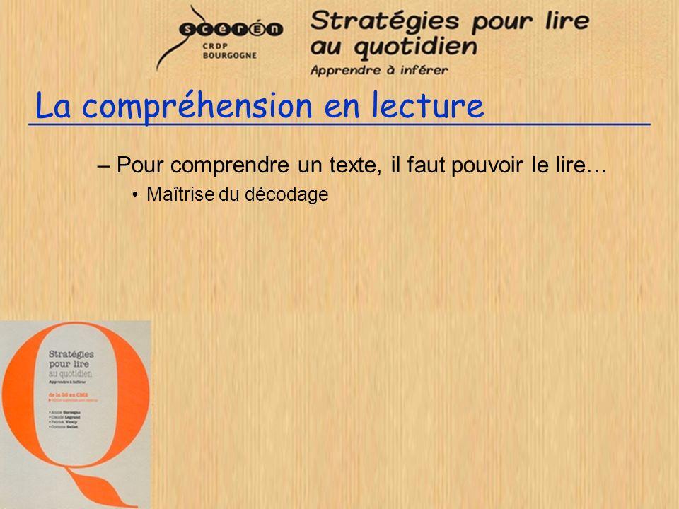 La compréhension en lecture –Pour comprendre un texte, il faut pouvoir le lire… Maîtrise du décodage –Phonologie