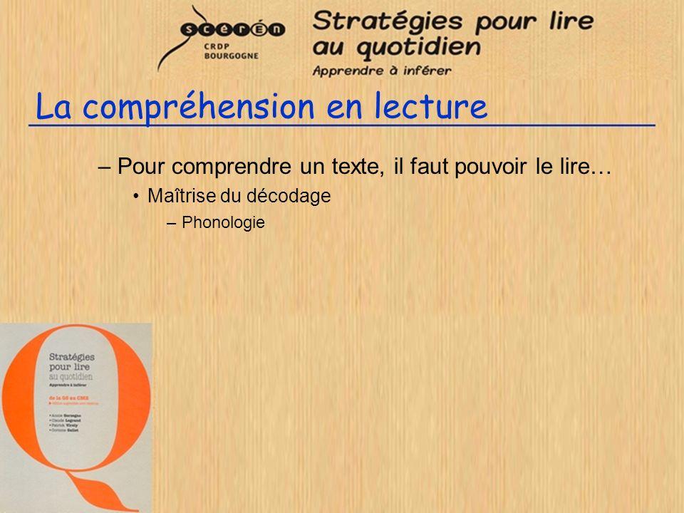 La compréhension en lecture –Pour comprendre un texte, il faut pouvoir le lire… Maîtrise du décodage –Phonologie –Morphologie »séquences de lecture