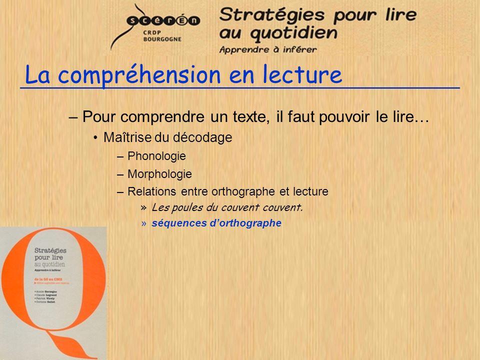 La compréhension en lecture –Pour comprendre un texte, il faut pouvoir le lire… Maîtrise du décodage –Phonologie –Morphologie –Relations entre orthographe et lecture –Lexique »séquences de vocabulaire