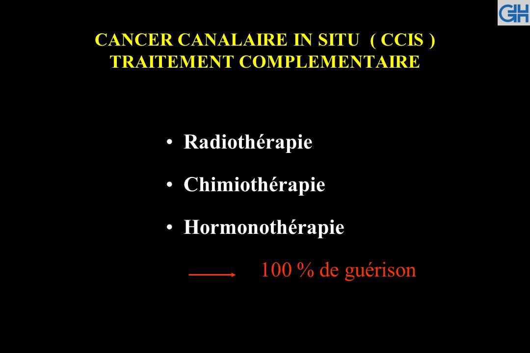 CANCER CANALAIRE IN SITU ( CCIS ) TRAITEMENT COMPLEMENTAIRE Radiothérapie Chimiothérapie Hormonothérapie 100 % de guérison