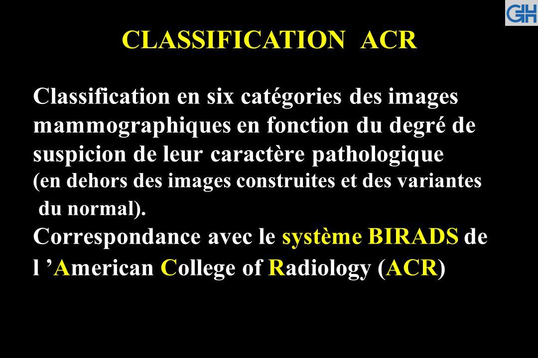 ACR 1 ACR 2 Anomalies typiquement bénignes (ni surveillance ni examen complémentaire) ACR 3 Anomalies probablement bénignes (surveillance à court terme conseillée) Mammographie normale - Opacité ronde avec macrocalcifications (adénofibrome ou kyste) - Ganglion intramammaire - Opacité(s) ronde(s) : kyste(s) typique(s) en échographie - Image de densité graisseuse ou mixte (lipome, hamartome, galactocèle, kyste huileux) - Cicatrice(s) connue(s) et calcification(s) sur matériel de suture - Macrocalcifications sans opacité (adénofibrome, kyste, adiponécrose, ectasie canalaire sécrétante, calcifications vasculaires, etc.) - Microcalcifications annulaires ou arciformes, semi-lunaires, sédimentées, rhomboédriques - Calcifications cutanées et calcifications punctiformes régulières diffuses - Microcalcifications rondes ou punctiformes régulières ou pulvérulentes, peu nombreuses, en petit amas rond isolé.