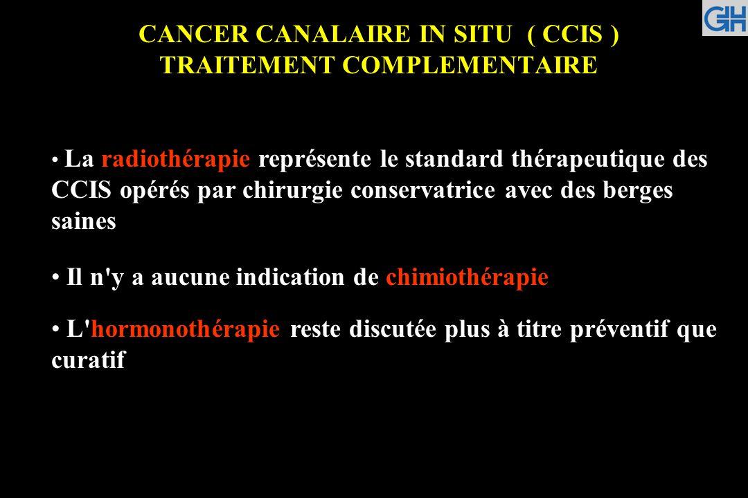 CANCER CANALAIRE IN SITU ( CCIS ) TRAITEMENT COMPLEMENTAIRE La radiothérapie représente le standard thérapeutique des CCIS opérés par chirurgie conser