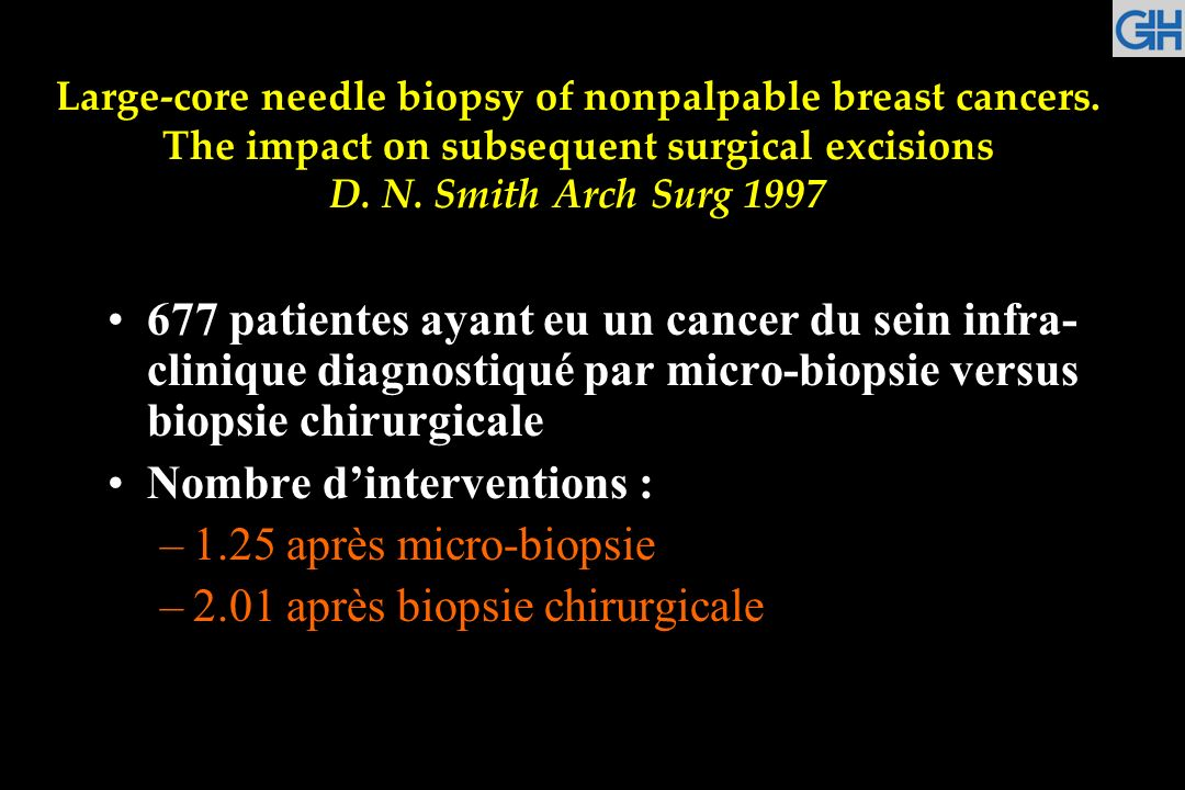Large-core needle biopsy of nonpalpable breast cancers. The impact on subsequent surgical excisions D. N. Smith Arch Surg 1997 677 patientes ayant eu