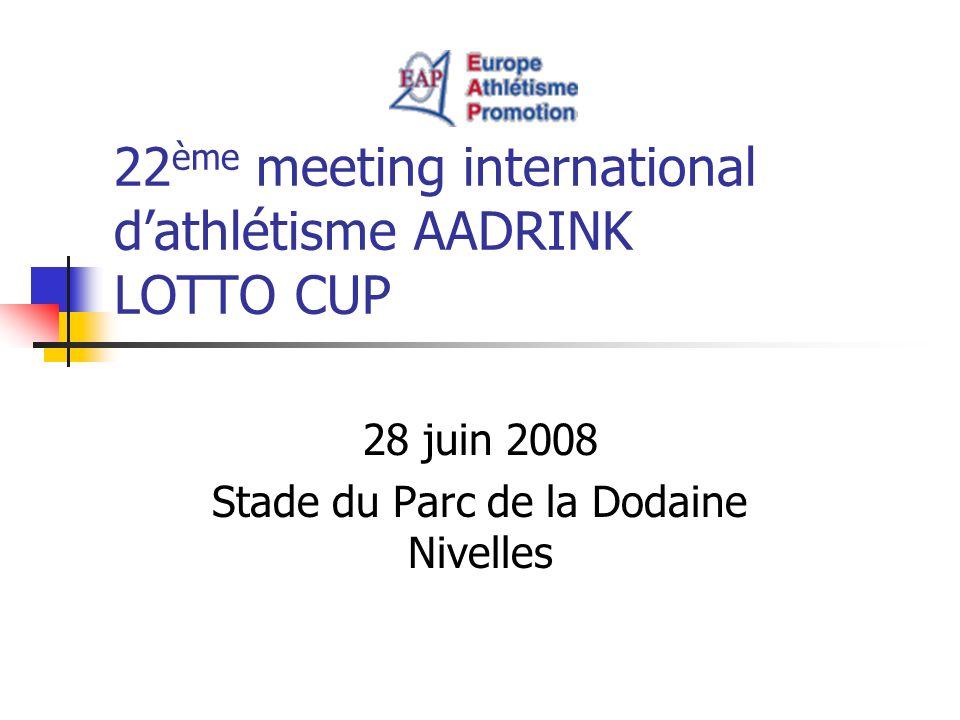 22 ème meeting international dathlétisme AADRINK LOTTO CUP 28 juin 2008 Stade du Parc de la Dodaine Nivelles