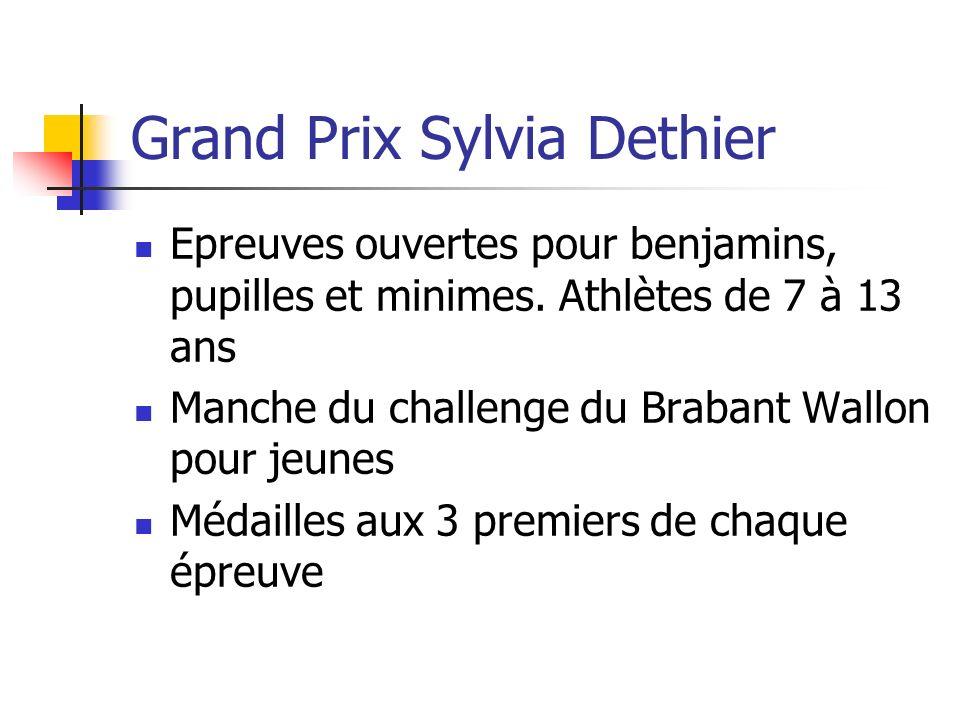 Grand Prix Sylvia Dethier Epreuves ouvertes pour benjamins, pupilles et minimes. Athlètes de 7 à 13 ans Manche du challenge du Brabant Wallon pour jeu