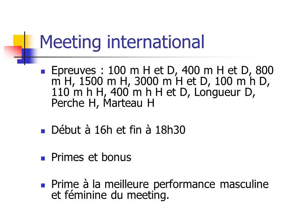 Meeting international Epreuves : 100 m H et D, 400 m H et D, 800 m H, 1500 m H, 3000 m H et D, 100 m h D, 110 m h H, 400 m h H et D, Longueur D, Perch