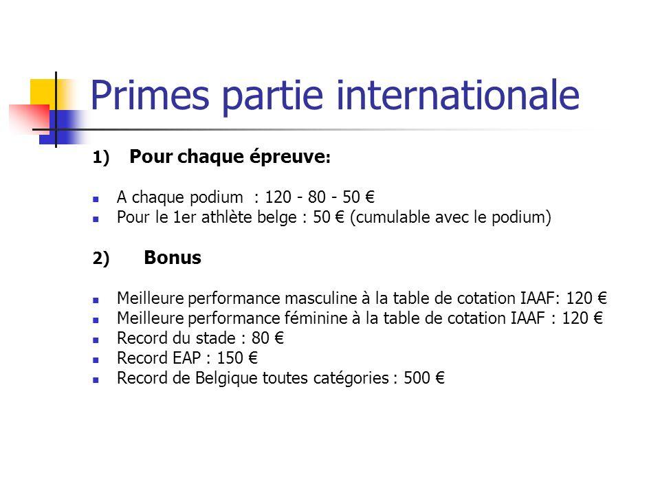 Primes partie internationale 1) Pour chaque épreuve : A chaque podium : 120 - 80 - 50 Pour le 1er athlète belge : 50 (cumulable avec le podium) 2) Bon