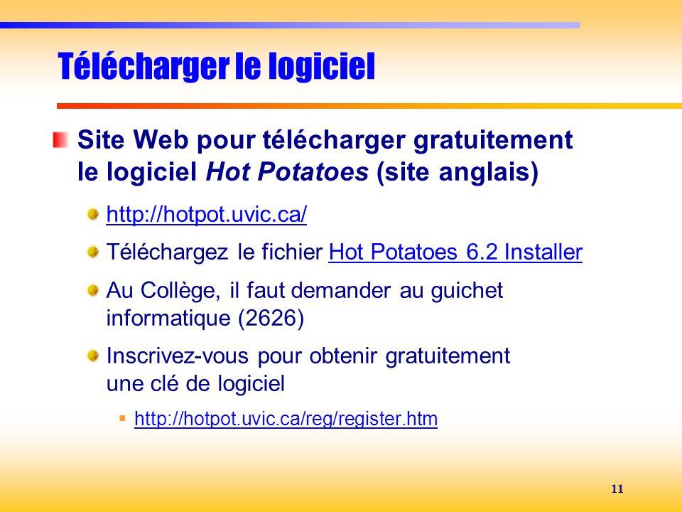 11 Télécharger le logiciel Site Web pour télécharger gratuitement le logiciel Hot Potatoes (site anglais) http://hotpot.uvic.ca/ Téléchargez le fichie
