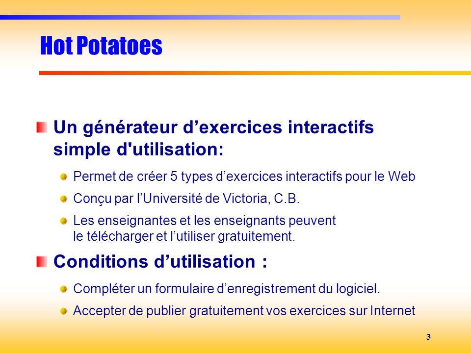 3 Hot Potatoes Un générateur dexercices interactifs simple d'utilisation: Permet de créer 5 types dexercices interactifs pour le Web Conçu par lUniver