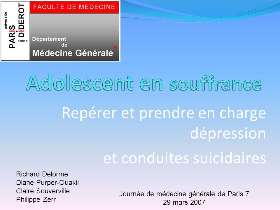 Repérer et prendre en charge dépression et conduites suicidaires Richard Delorme Diane Purper-Ouakil Claire Souverville Philippe Zerr Journée de médec