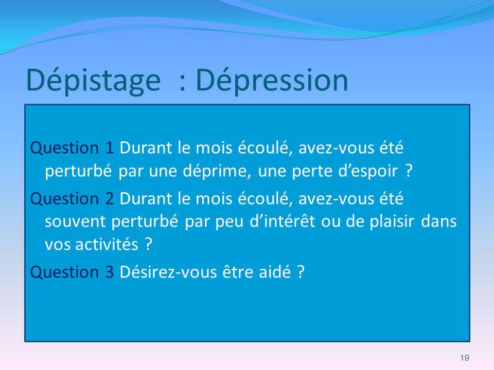 Dépistage : Dépression Question 1 Durant le mois écoulé, avez-vous été perturbé par une déprime, une perte despoir ? Question 2 Durant le mois écoulé,