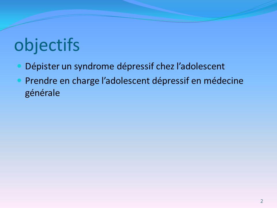 objectifs Dépister un syndrome dépressif chez ladolescent Prendre en charge ladolescent dépressif en médecine générale 2