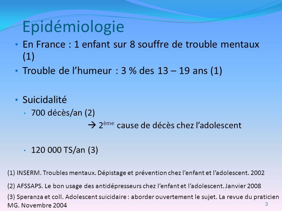 Epidémiologie En France : 1 enfant sur 8 souffre de trouble mentaux (1) Trouble de lhumeur : 3 % des 13 – 19 ans (1) Suicidalité 700 décès/an (2) 2 èm