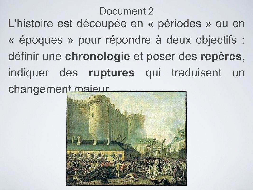 L'histoire est découpée en « périodes » ou en « époques » pour répondre à deux objectifs : définir une chronologie et poser des repères, indiquer des