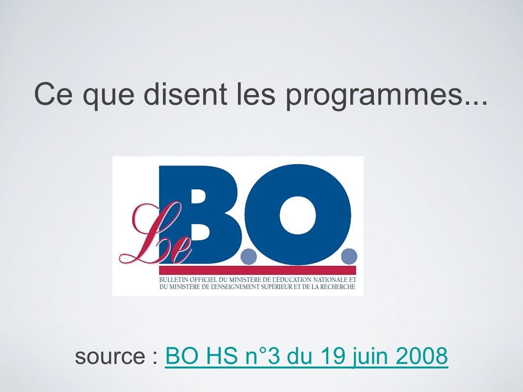 Ce que disent les programmes... source : BO HS n°3 du 19 juin 2008BO HS n°3 du 19 juin 2008