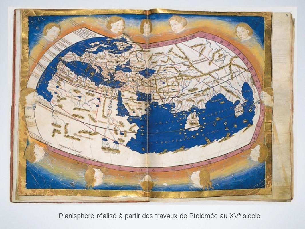 Planisphère réalisé à partir des travaux de Ptolémée au XV e siècle.