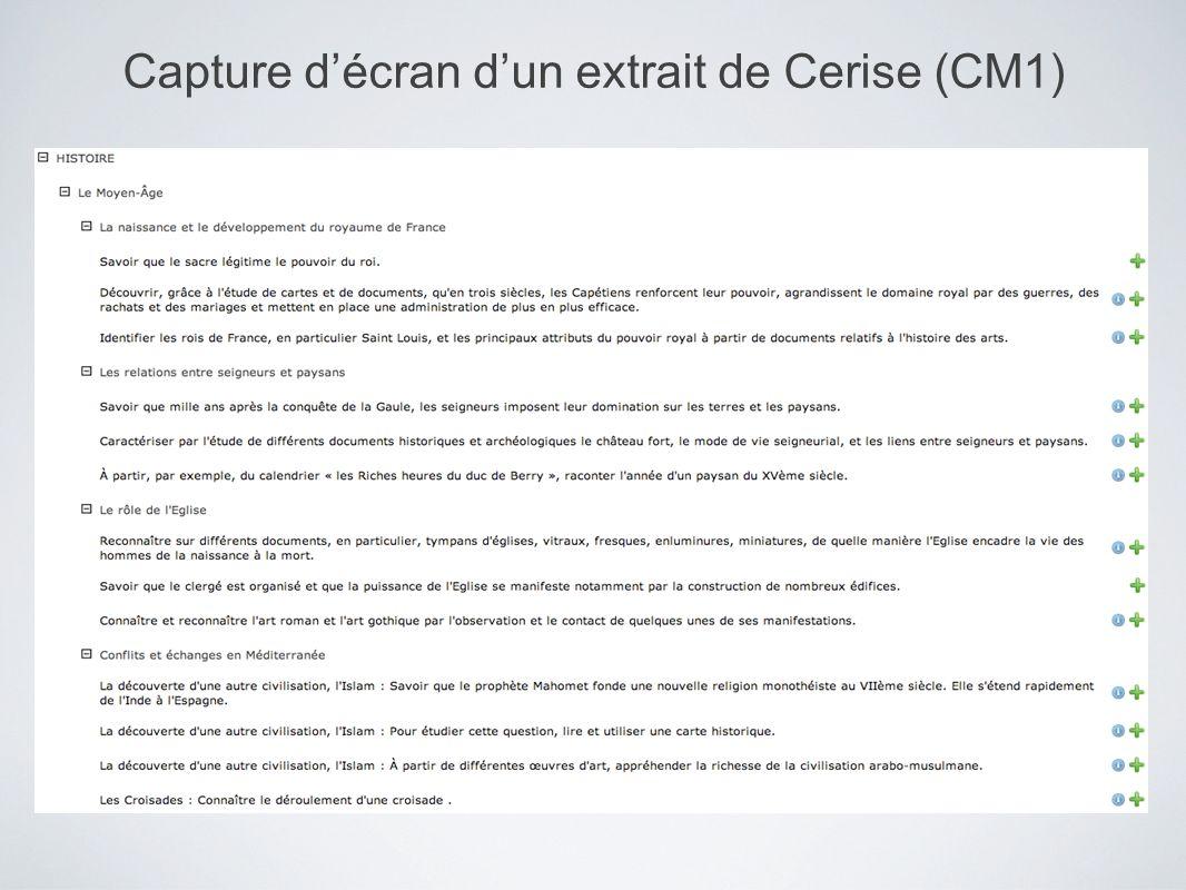 Capture décran dun extrait de Cerise (CM1)