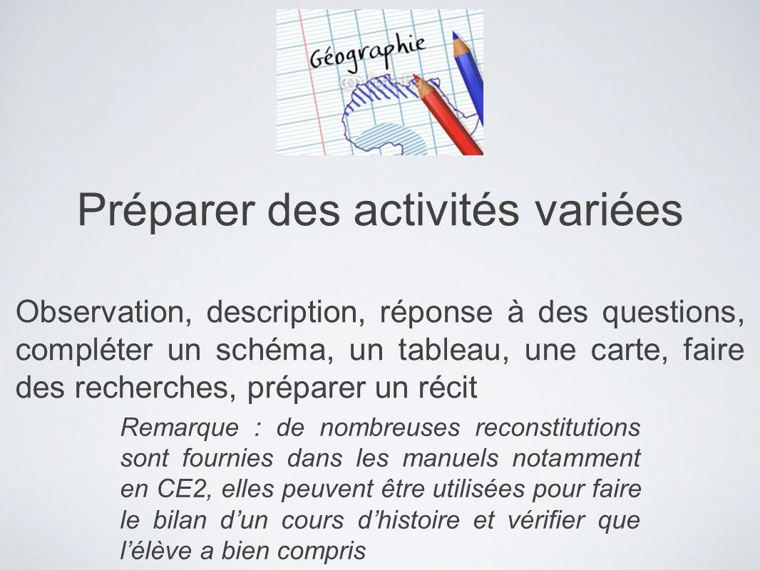 Préparer des activités variées Observation, description, réponse à des questions, compléter un schéma, un tableau, une carte, faire des recherches, pr