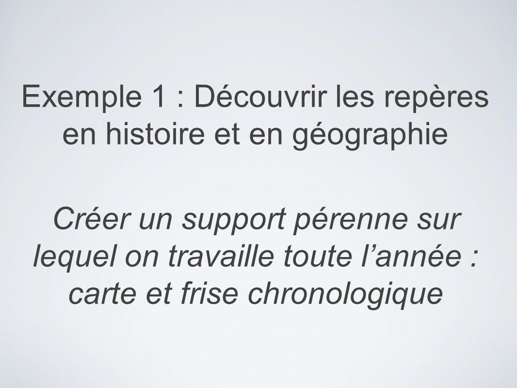 Exemple 1 : Découvrir les repères en histoire et en géographie Créer un support pérenne sur lequel on travaille toute lannée : carte et frise chronolo