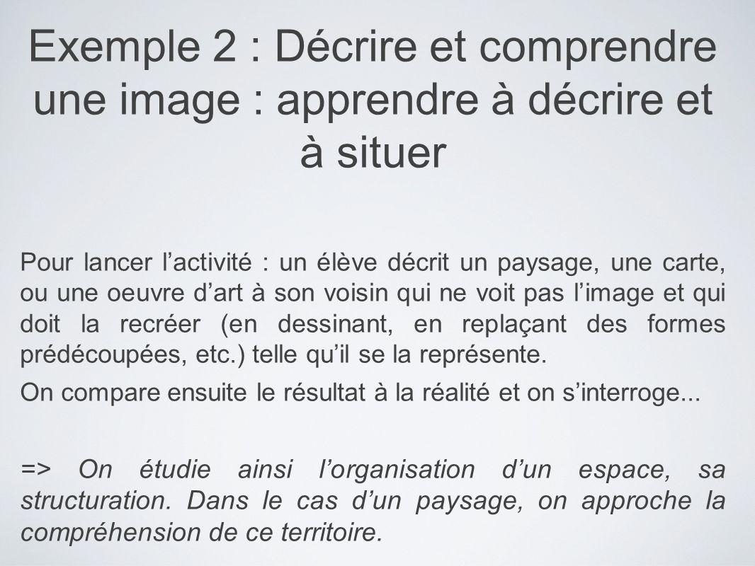 Exemple 2 : Décrire et comprendre une image : apprendre à décrire et à situer Pour lancer lactivité : un élève décrit un paysage, une carte, ou une oe